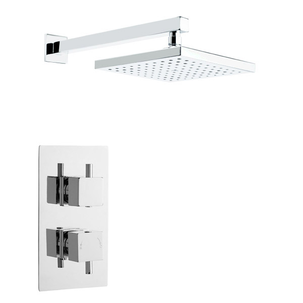 Pioneer - Minimalist Square Twin Concealed Shower with ABS Trimset & Square Shower Head Large Image