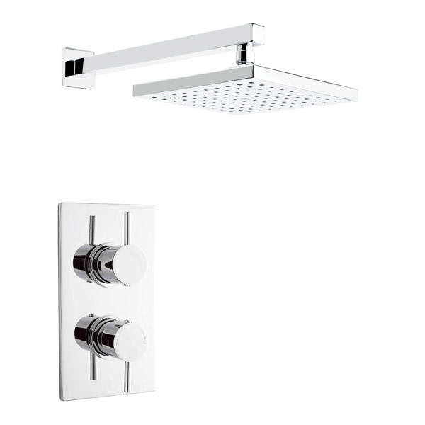 Pioneer - Minimalist Lever Twin Concealed Shower with Brass Trimset & Square Shower Head Large Image