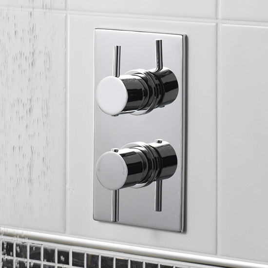 Pioneer Minimalist Lever Twin Concealed Thermostatic Shower with Chrome Plated Brass Trimset profile large image view 2