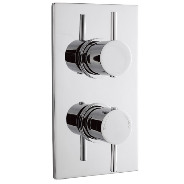 Pioneer Minimalist Lever Twin Concealed Thermostatic Shower with Chrome Plated Brass Trimset profile large image view 1