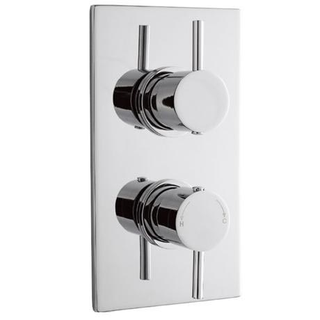 Pioneer Minimalist Lever Twin Concealed Thermostatic Shower with Chrome Plated Brass Trimset