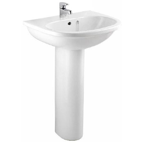 Bristan - Jute 55cm 1 Tap Hole Basin and Pedestal