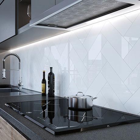 Jasper Metro White Flat Wall Tiles - 100 x 300mm