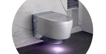 Floating japanese toilet with light