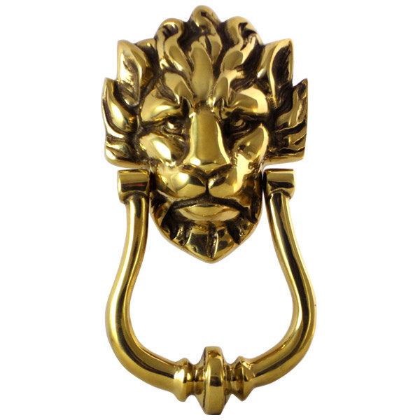 Polished brass lion head door knocker 210 x 110mm k for Door knockers uk