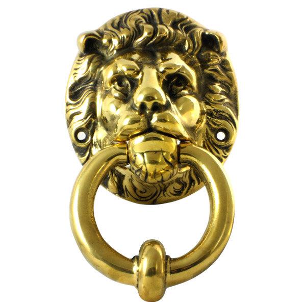 Polished brass lion head door knocker 180 x 110mm at victorian plumbing uk - Lion face door knocker ...