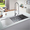 Grohe K1000 1.0 Bowl Stainless Steel Kitchen Sink profile small image view 1