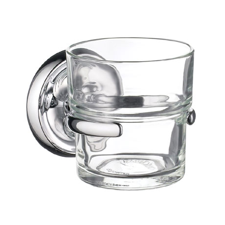 Smedbo Villa Glass Tumbler & Holder - Polished Chrome - K243