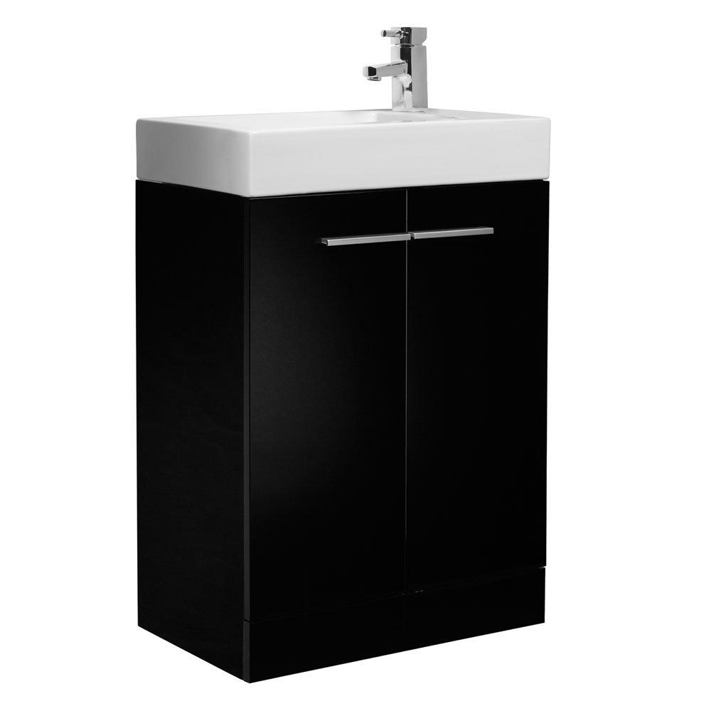 Tavistock Kobe 560mm Freestanding Unit & Basin - Gloss Black Large Image