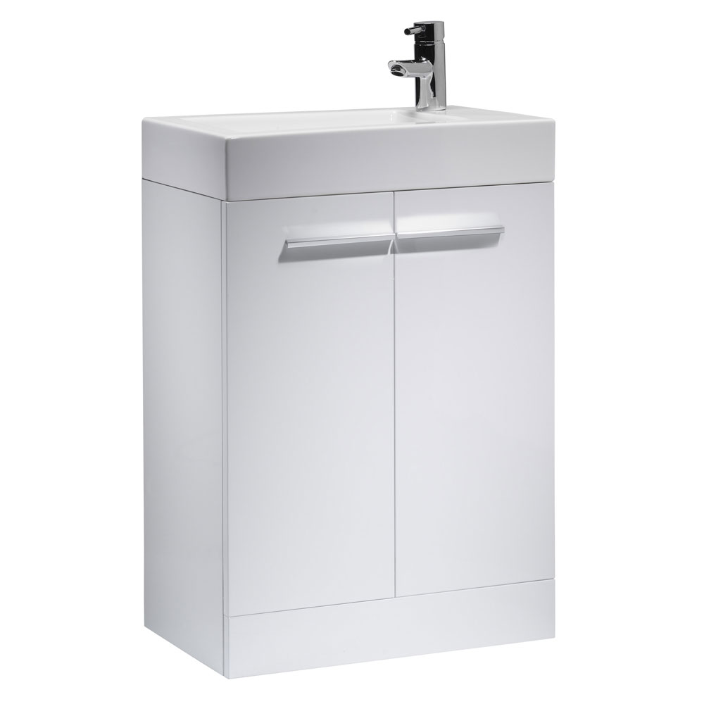 Tavistock Kobe 560mm Freestanding Unit & Basin - Gloss White Large Image
