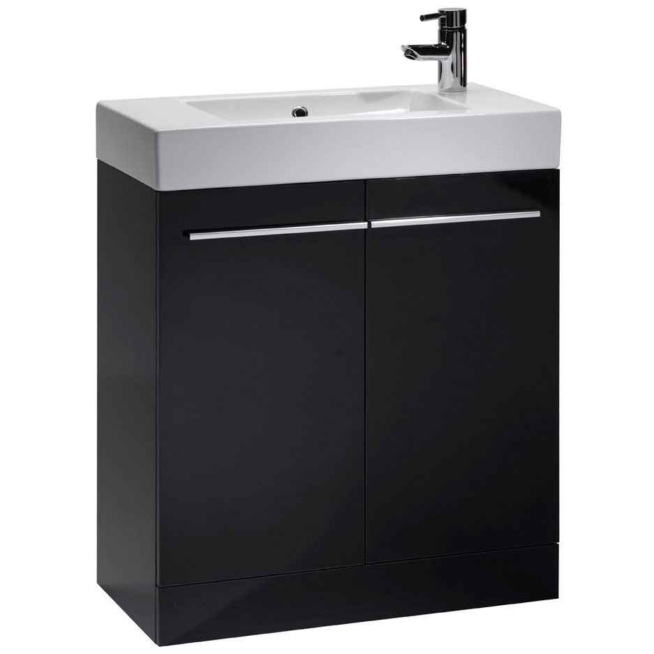 Tavistock Kobe 700mm Freestanding Unit & Basin - Gloss Black Large Image