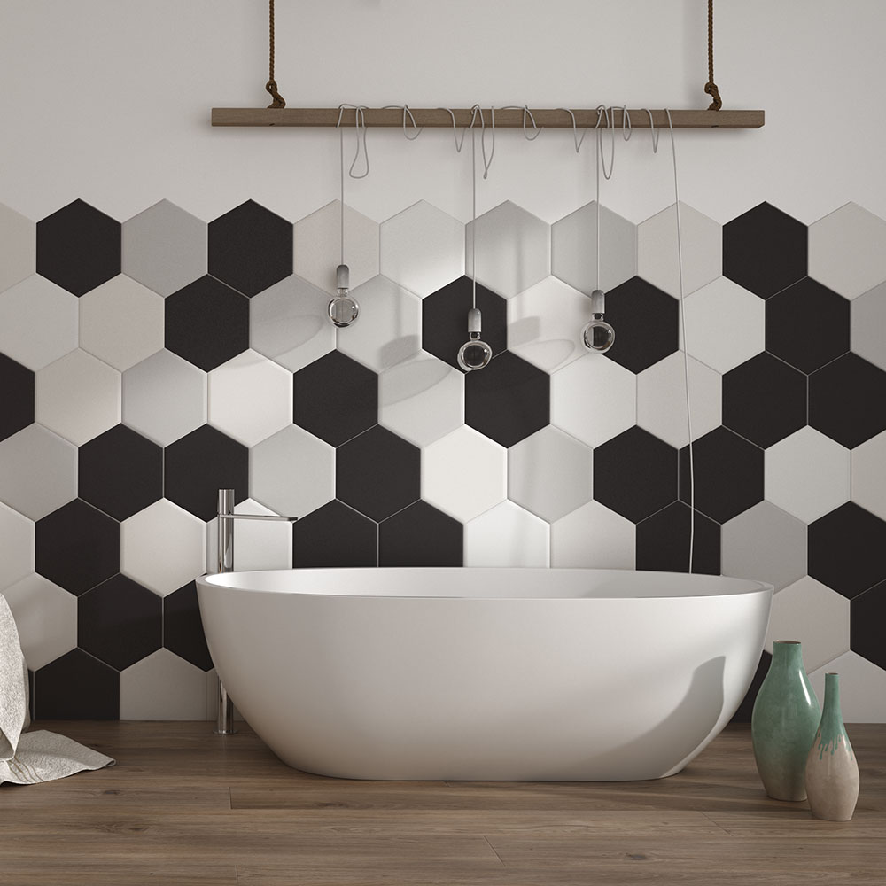Kai Light Grey Hexagon Wall and Floor Tiles - A Finishing Touch for Small Bathroom Makeovers