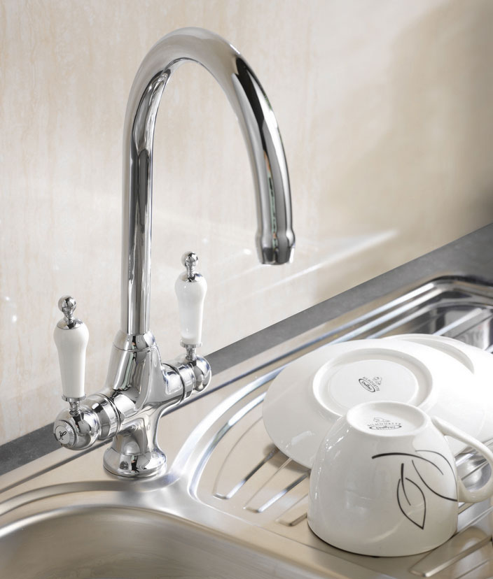 Ultra Traditional Dualflow Cruciform Sink Mixer - Chrome - KB304 Profile Large Image