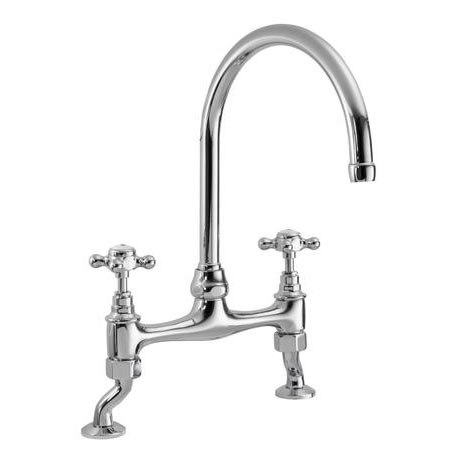 Ultra Traditional Bridge Kitchen Sink Mixer Tap - Chrome - KB316