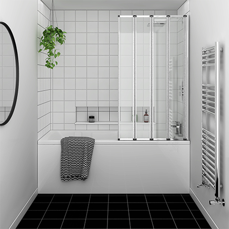 Kent Square Single Ended Bath with Bi-Fold Screen