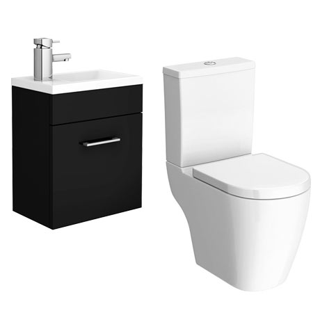 Kobe Gloss Black Cloakroom Wall Hung Unit + Close Coupled Toilet
