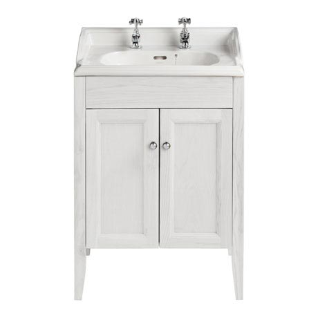 Heritage Caversham Freestanding Dorchester Square Vanity Unit with Chrome Handles & Basin - Dove Gre