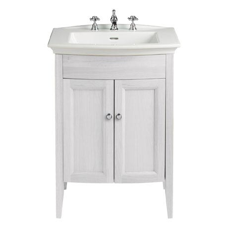 Heritage Caversham Freestanding Blenheim Vanity Unit with Chrome Handles & 3TH Basin - Dove Grey