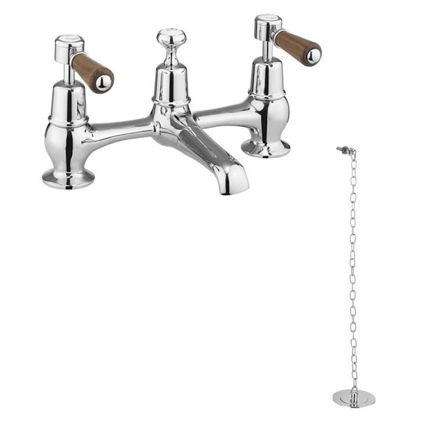 Burlington Kensington Walnut 2TH Bridge Basin Mixer with Plug & Chain