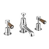 Burlington Kensington Walnut 3TH Basin Mixer with Pop-up Waste profile small image view 1
