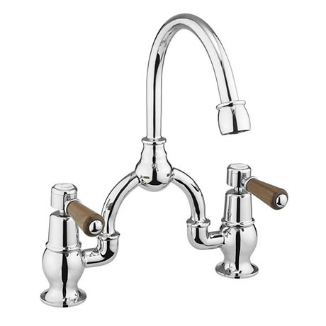 Burlington Kensington Walnut Arch Basin Mixer with Curved Spout (200mm Centres)
