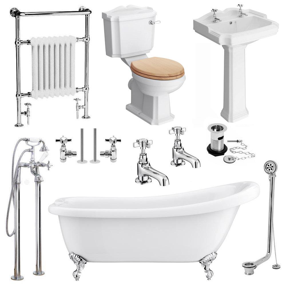 Cove Complete Bathroom Suite: Kensington Traditional Complete Roll Top Bathroom Package