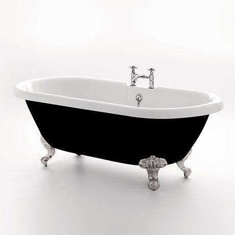 Royce Morgan Kensington 1695x740mm Black Freestanding Bath (Inc. Chrome Ball + Claw Feet)