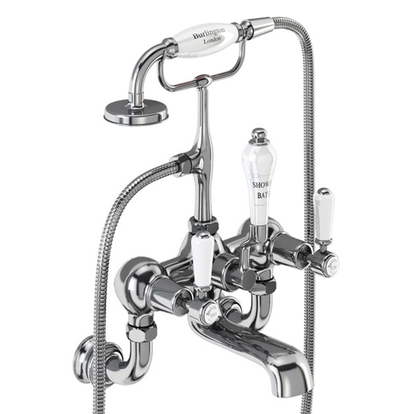 Burlington Kensington Regent - Chrome Wall Mounted Bath/Shower Mixer - KER17
