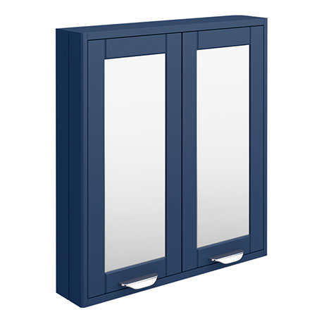 Keswick Blue 600mm Traditional Wall Hung 2 Door Mirror Cabinet