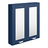 Keswick Blue 600mm Traditional Wall Hung 2 Door Mirror Cabinet profile small image view 1