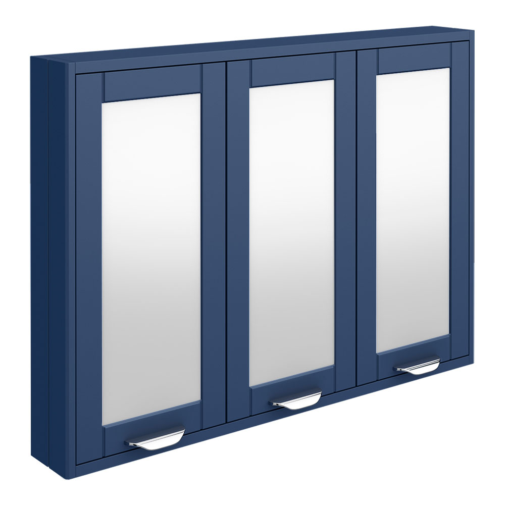 Keswick Blue 900mm Traditional Wall Hung 3 Door Mirror Cabinet
