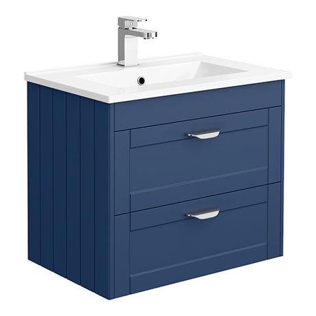 Keswick Blue 620mm Traditional Wall Hung 2 Drawer Vanity Unit