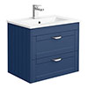 Keswick Blue 620mm Traditional Wall Hung 2 Drawer Vanity Unit profile small image view 1