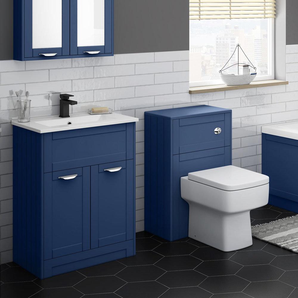 Keswick Blue 620mm Sink Vanity Unit Toilet Package Victorian Plumbing Uk