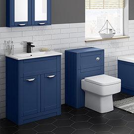 Keswick Blue 620mm Sink Vanity Unit + Toilet Package