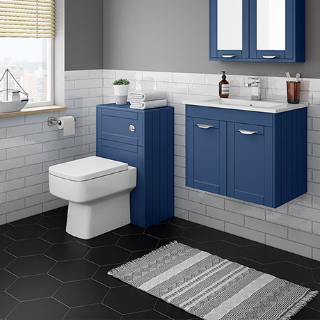 Keswick Blue Wall Hung 2-Door Vanity Unit + Toilet Package