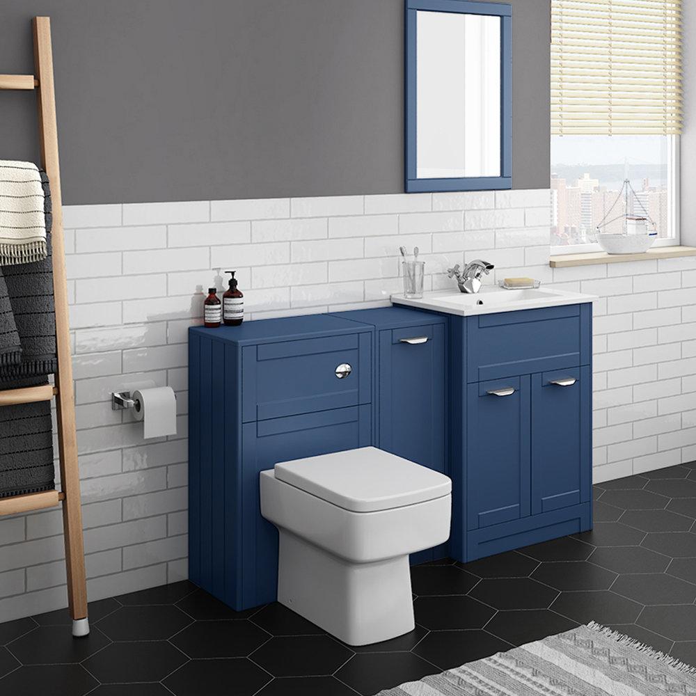 Keswick Blue Sink Vanity Unit, Storage Unit + Toilet Package