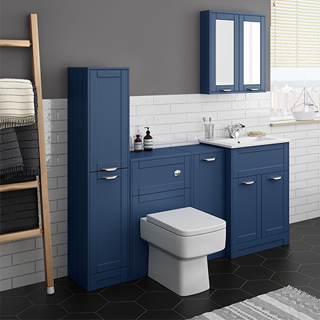 Keswick Blue Sink Vanity Unit, Storage Unit, Tall Boy + Toilet Package