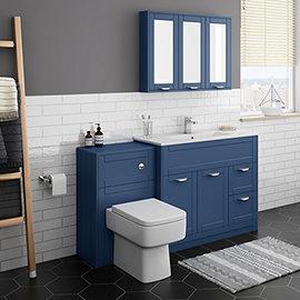 Keswick Blue 1015mm Sink Vanity Unit + Toilet Package