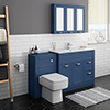 Keswick Blue 1015mm Sink Vanity Unit + Toilet Package profile small image view 1
