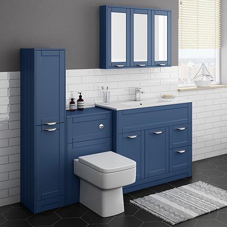 Keswick Blue 1015mm Sink Vanity Unit, Tall Boy + Toilet Package