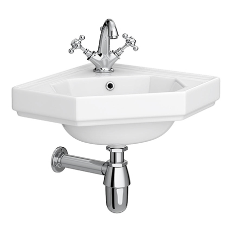 Keswick Traditional Corner Cloakroom Basin 1TH - 420 x 450mm