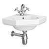 Keswick Traditional Corner Cloakroom Basin 1TH - 420 x 450mm profile small image view 1