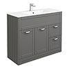 Keswick Grey 1015mm Traditional Floorstanding Vanity Unit profile small image view 1