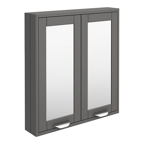 Keswick Grey 600mm Traditional Wall Hung 2 Door Mirror Cabinet
