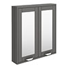 Keswick Grey 600mm Traditional Wall Hung 2 Door Mirror Cabinet profile small image view 1
