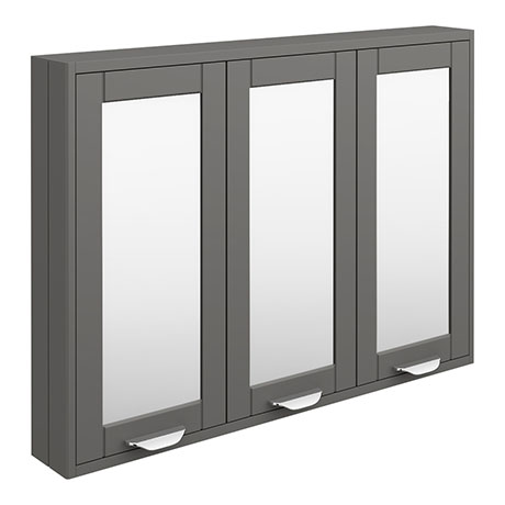 Keswick Grey 900mm Traditional Wall Hung 3 Door Mirror Cabinet