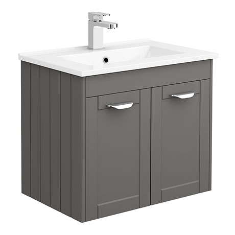 Keswick Grey 620mm Traditional Wall Hung 2 Door Vanity Unit