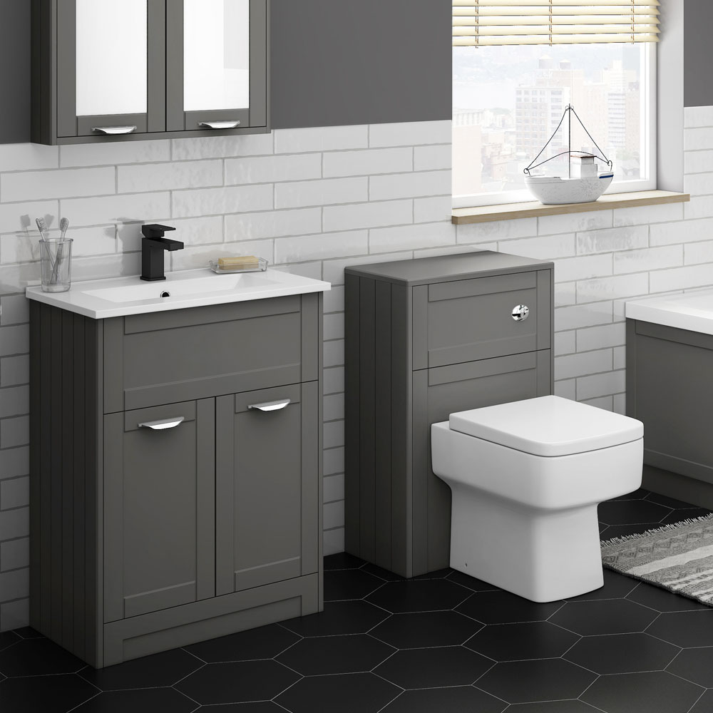 Keswick Grey 620mm Sink Vanity Unit + Toilet Package