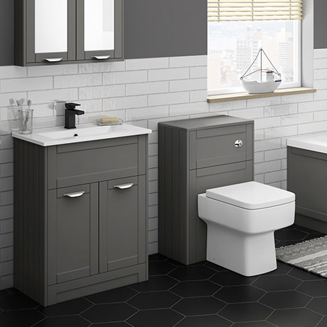Keswick Grey Sink Vanity Unit + Toilet Package
